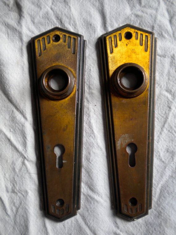 Antique 1940s Art Deco French Door Handle Plates By MaisonBleue