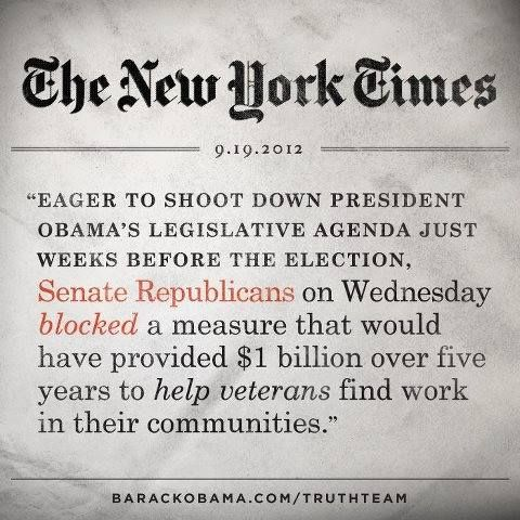 The GOP blocked President Obama's 'Veterans Jobs Bill'. How the hell can republicans claim to love their country !!!