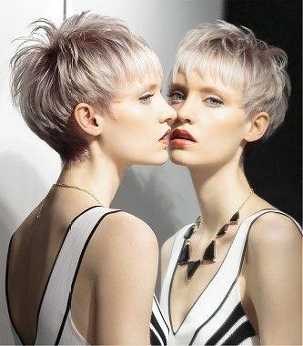 short blonde straight coloured multitonal platinum rear
