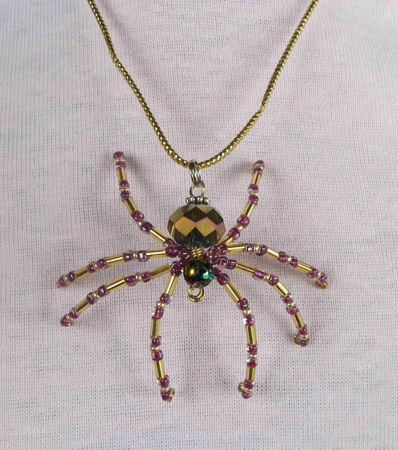 Beaded spider pendant necklace 1000 via etsy design beaded spider pendant necklace 1000 via etsy aloadofball Image collections