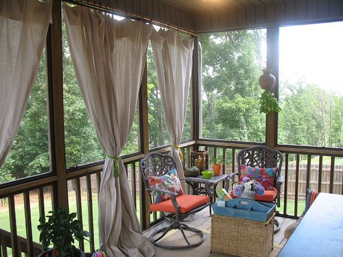 Nice Add Privacy To A Porch Using Copper Piping For Curtain Rods With Canvas  Drop Cloths For