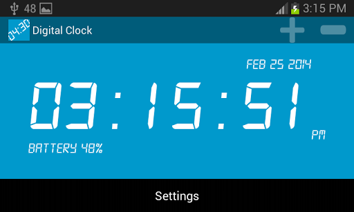 This simple, handy digital clock, you can use your phone as a desk clock by this app.<p>Properties<br>★ Simple to use<br>★ Tiny size<br>★ ICS compatible<br>★ Full screen size support<br>★ Changable font size<br>★ Remembers landscape, portrait font size<br>★ Changable background color <br>★ Changable time color<br>★ Alerting per hour<br>★ Alerting per Minute<br>★ Set the notification ringtone<br>★ 24 or 12 in the time zone display <br>★ Show the remaining battery<br>★ Shows date…
