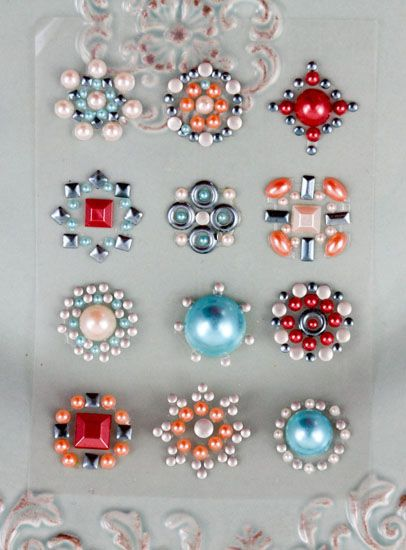 Prima say it in studs collection self adhesive jewel art bling flower centers orange and blue