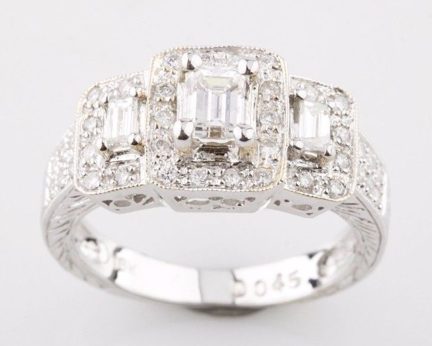18K White Gold 3-Stone Emerald Cut Diamond Engagement Ring with Accents Sz 6.75 #Unbranded #ThreeStone