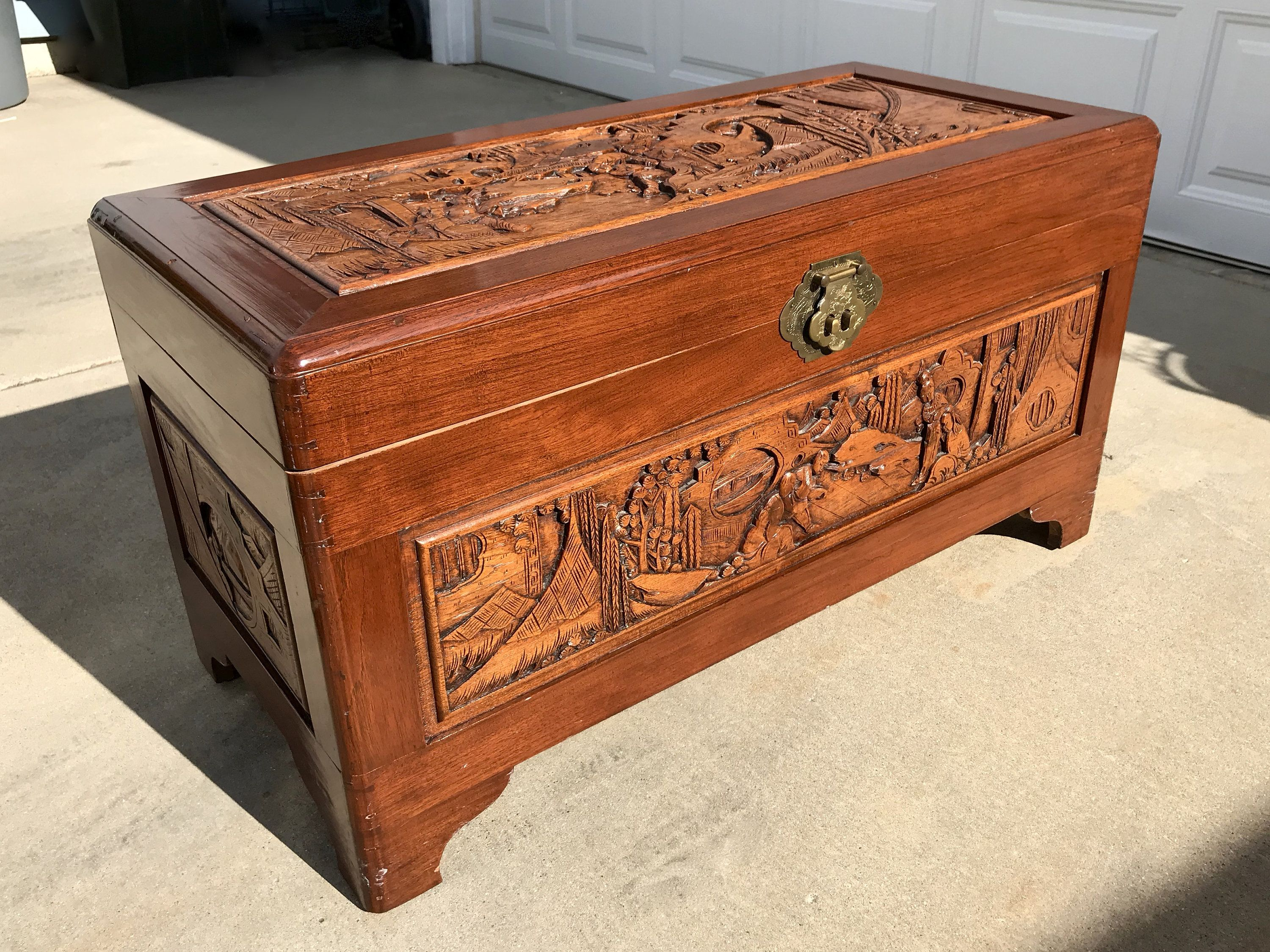 Chinese Carved Camphor Wood Chest 36x19x17 Asian Wood Blanket Chest Antique Hand Carved Camphor Woo Wood Carving Faces Wood Carving Patterns Wood Storage