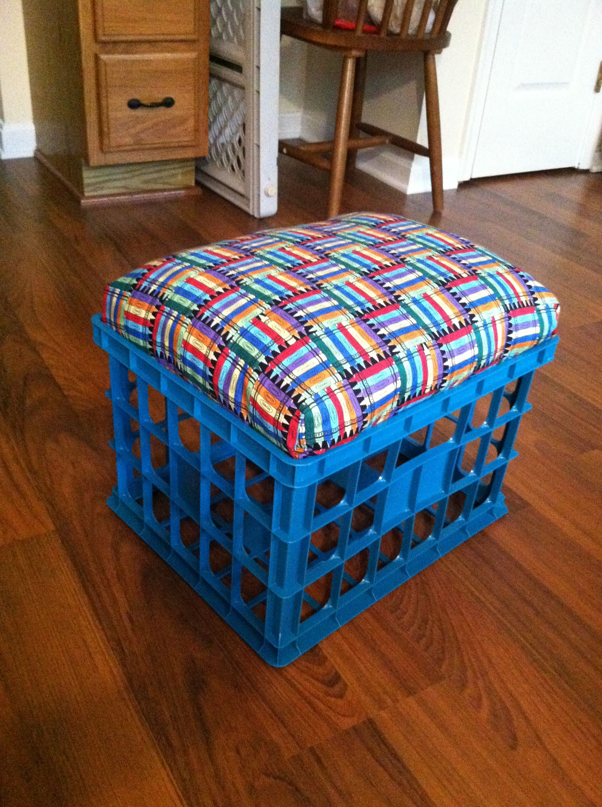 milk crate seats for the classroom