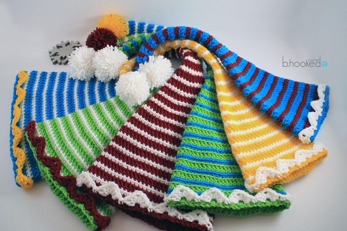 Crochet Elf Hats for your entire family this holiday season. B.hooked  offers a free pattern with six different sizes and a video tutorial for  beginners. b1d0e1f074d