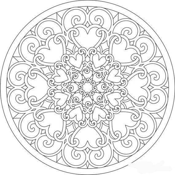 lovely spring mandala would also be great for valentines day shala kerrigan printable colouring pages