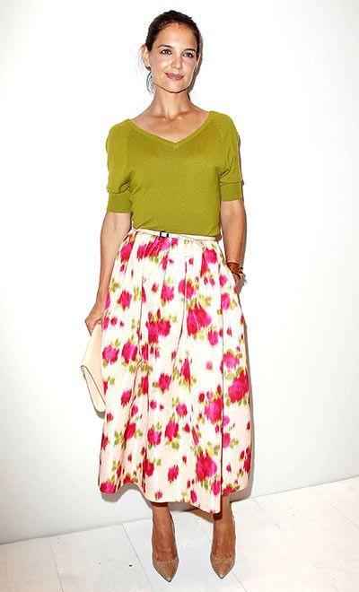 Katie Holmes, con una falda de flores