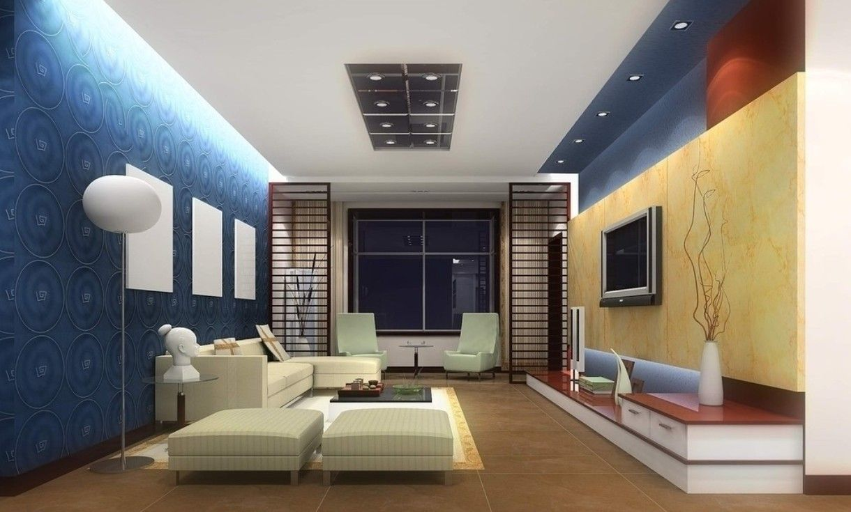 3D Rendering Interior View Of Blue Walls 3D House Free 3D House