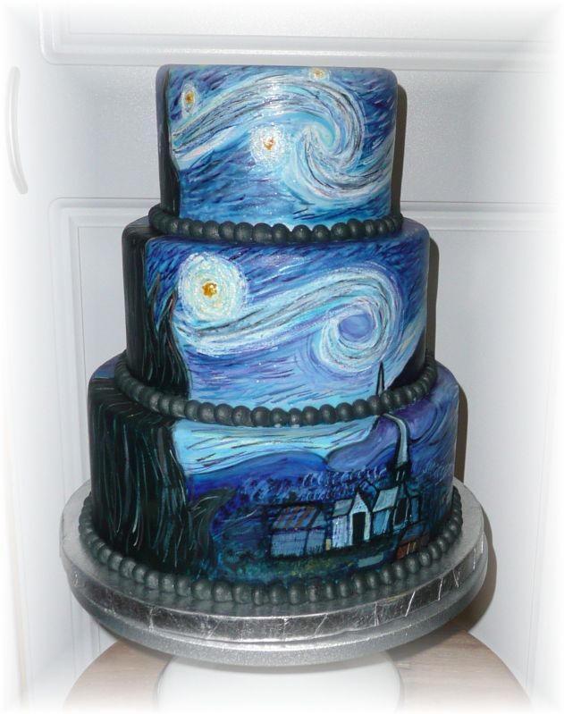 "This reproduction of Van Gogh's ""Starry Night"" has been painted on a cake with edible paint. Seriously."