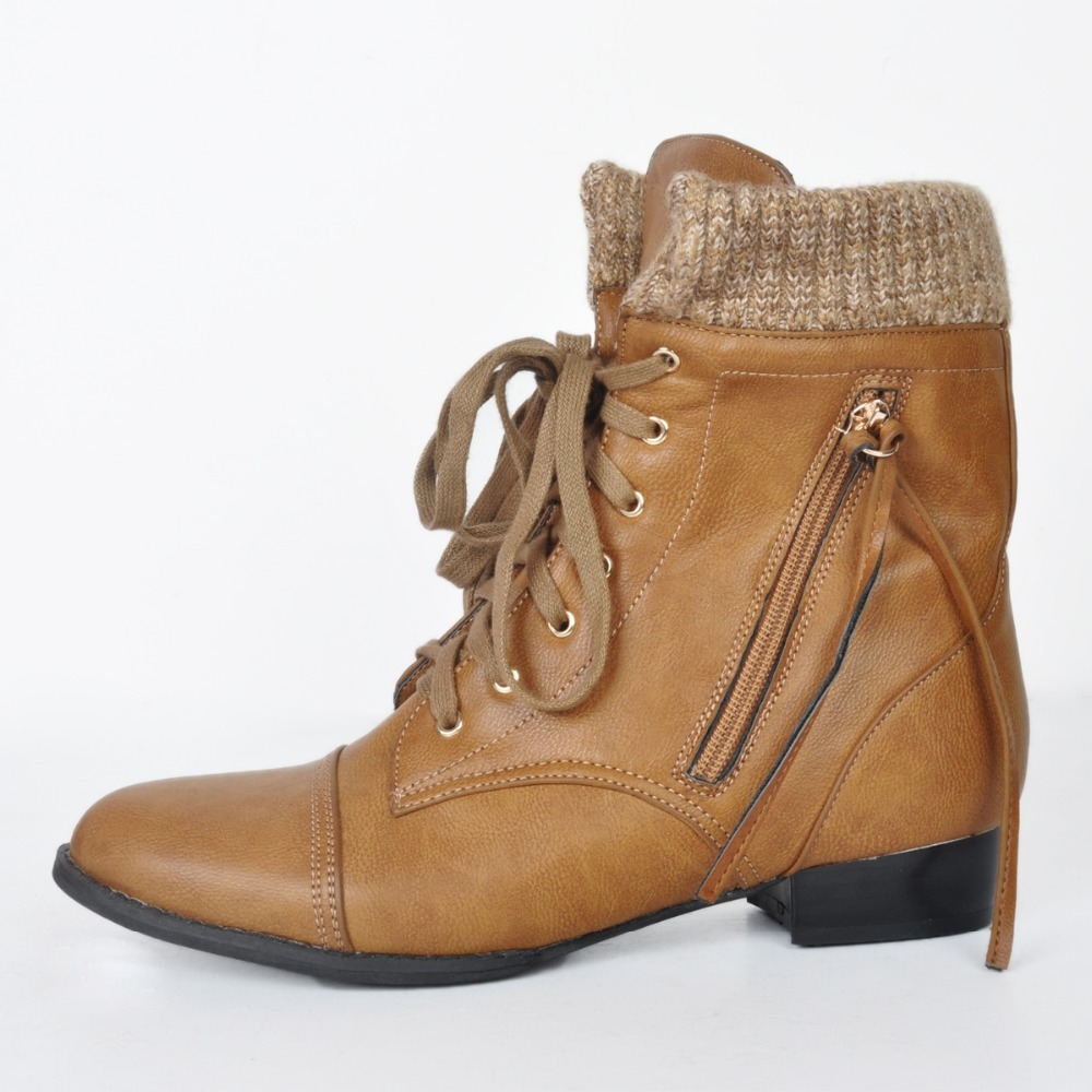 64.39$  Buy now - http://alik27.worldwells.pw/go.php?t=32739589071 - New Fashion Women Ankle Boots Elegant Round Toe Square Heels Boots Brown Shoes Woman US Size 4-15