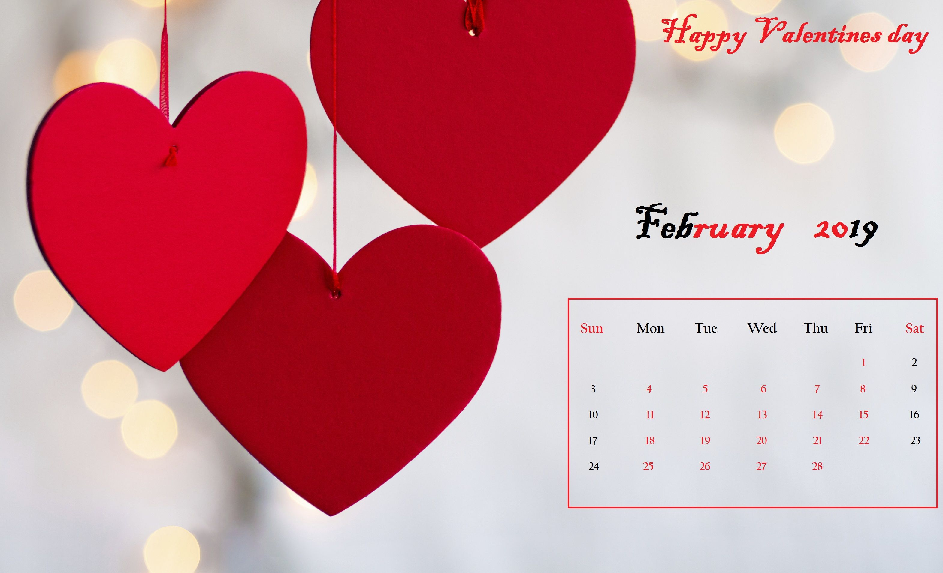 February 2019 Calendar With Hearts Red heart Desktop Calendar February 2019 | Calendar Designs in