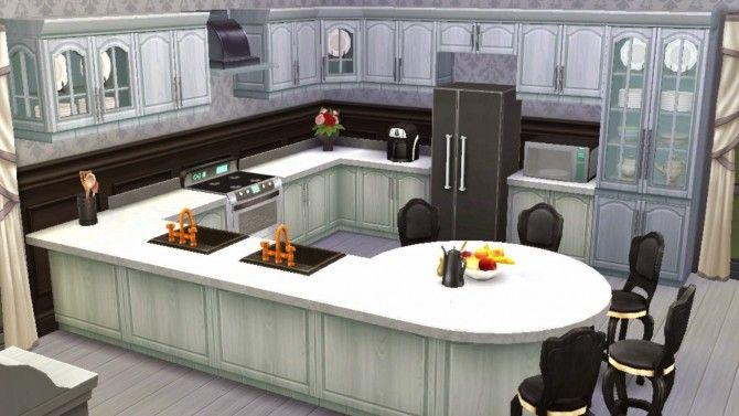 Black White Kitchen At Sanjana Sims Via Sims 4 Updates Sims