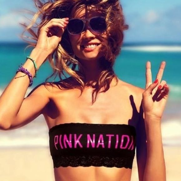 PINK NATION bandeau Black with lace VS PINK NATION bandeau, never worn! New without tags! Great condition and extremely stretchy! PINK Victoria's Secret Intimates & Sleepwear Bandeaus
