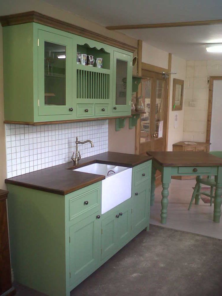 Solid Pine Farrow And Ball Painted Free Standing Kitchen Sink Unit And Wall  Unit