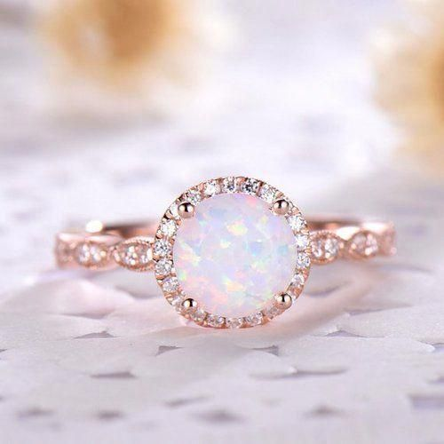 a968f58d7a981 7mm Round Cut Opal Engagement Ring,conflict free SI-H diamonds ...