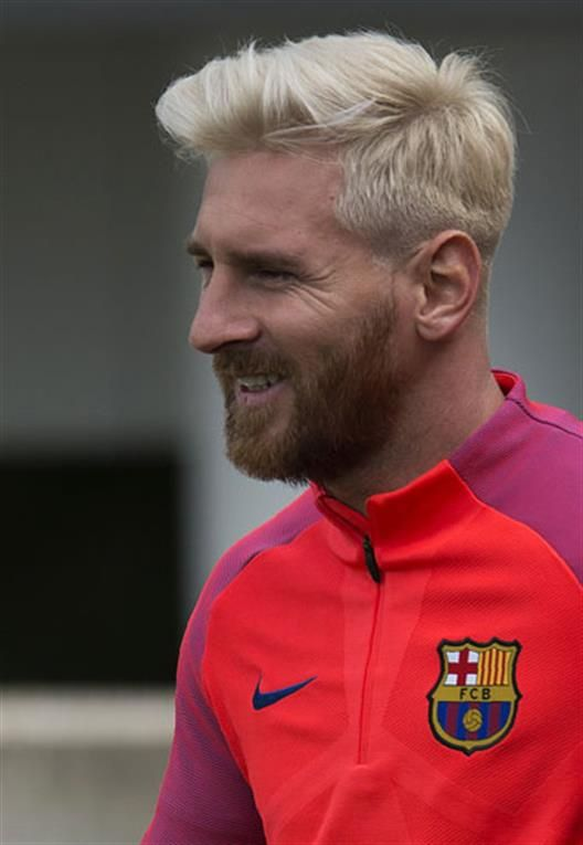 Messi Blound Silver Hair Look Poster 2016 Messi Bleached