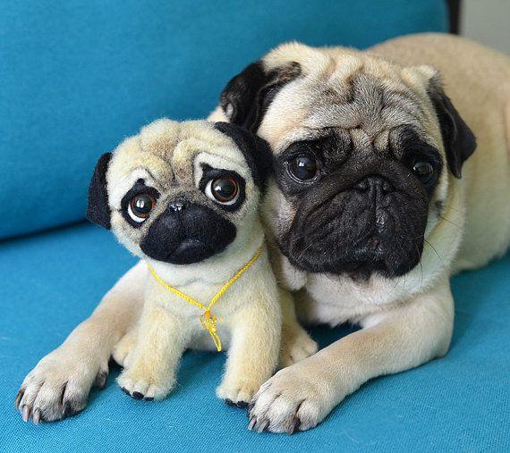 Pug Puppy Needle Felted Toy Funny Cute Dog By Fenekdolls Felt