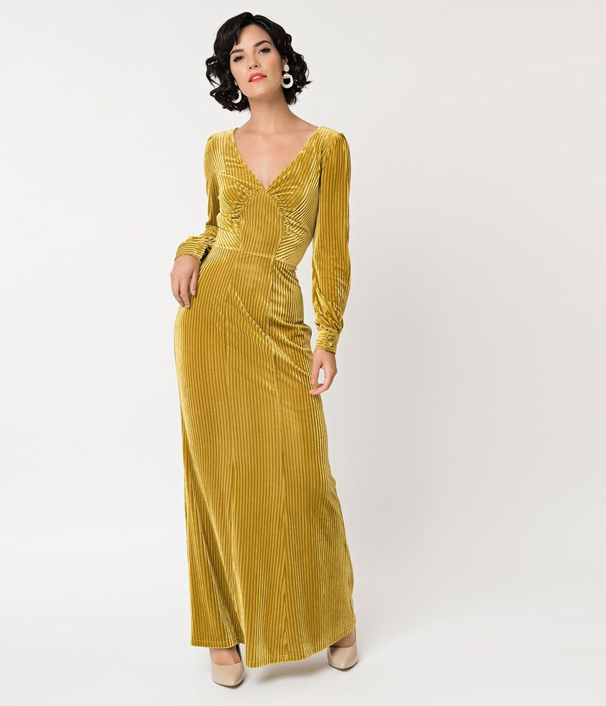 20165bb542d1 Voodoo Vixen 1930s Style Mustard Gold Yellow Velvet Long Sleeve Maxi Dress--Unique  Vintage