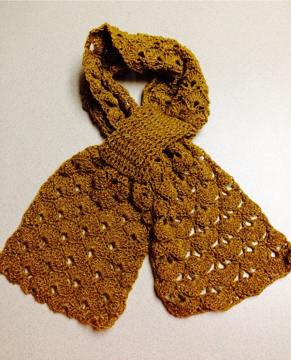 Crocheted Gold Scarf on Etsy, $25.00