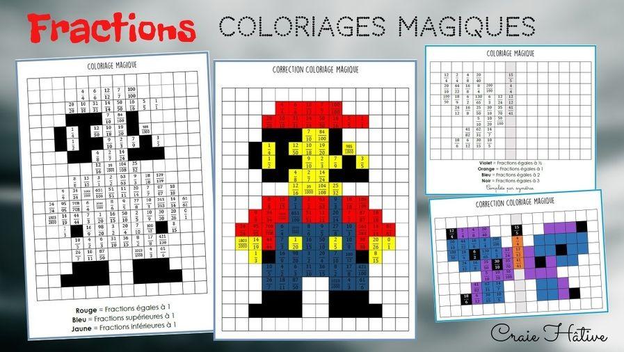 Coloriage Magique Unites De Mesure.Fractions Coloriages Magiques Craie Hative Autonomie