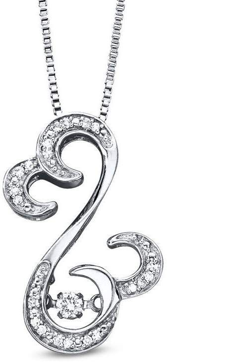Zales Open Hearts Rhythm by Jane Seymour 1/10 CT. T.w. Diamond Curlique Pendant in Sterling Silver hiyLUt