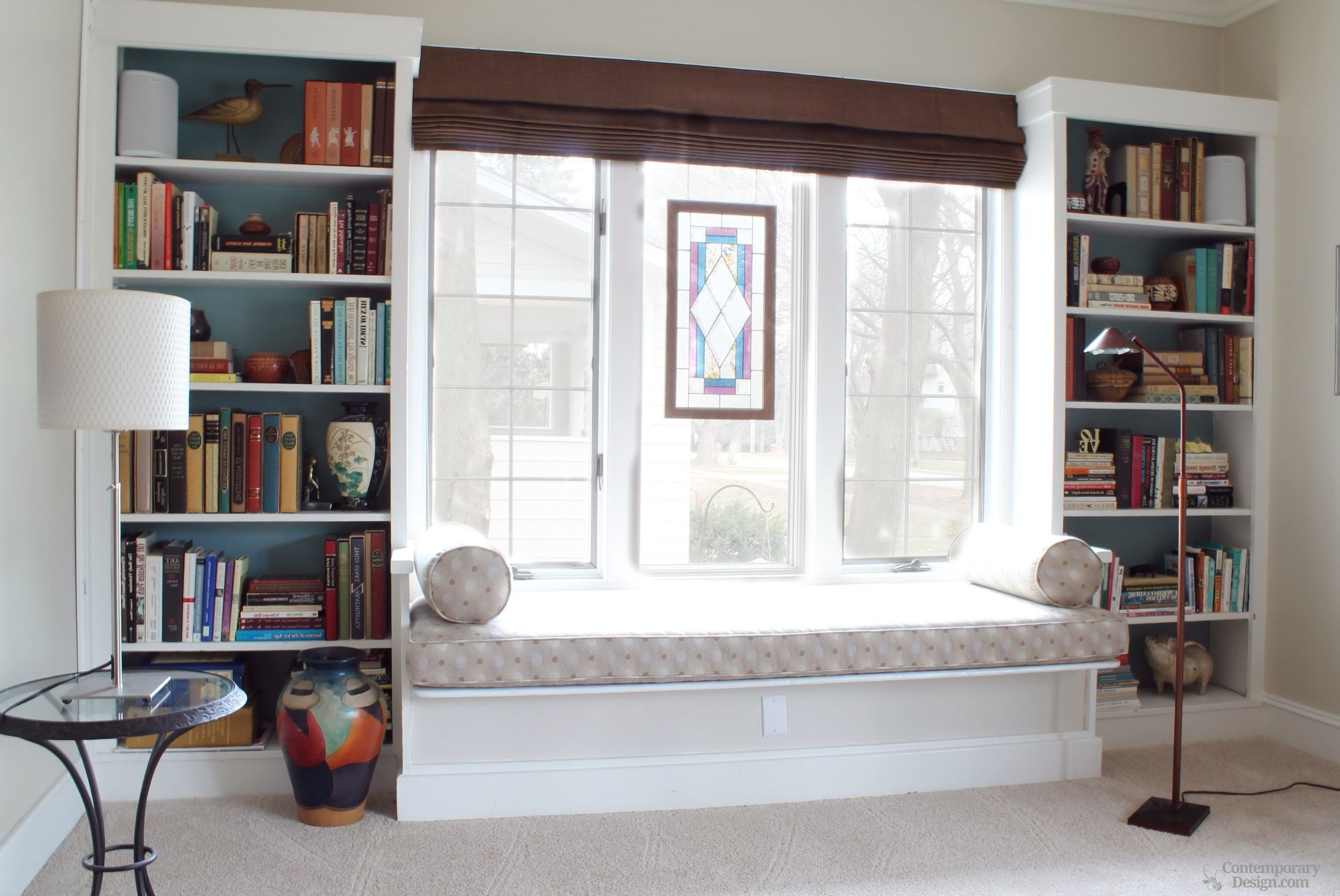 built in shelves around window in 2020 bookshelves built in home decor bedroom built in bookcase on kitchen cabinets around window id=16992