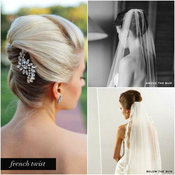 Wedding Veils Above Or Below Bridal Bun French Twist Hairstyle