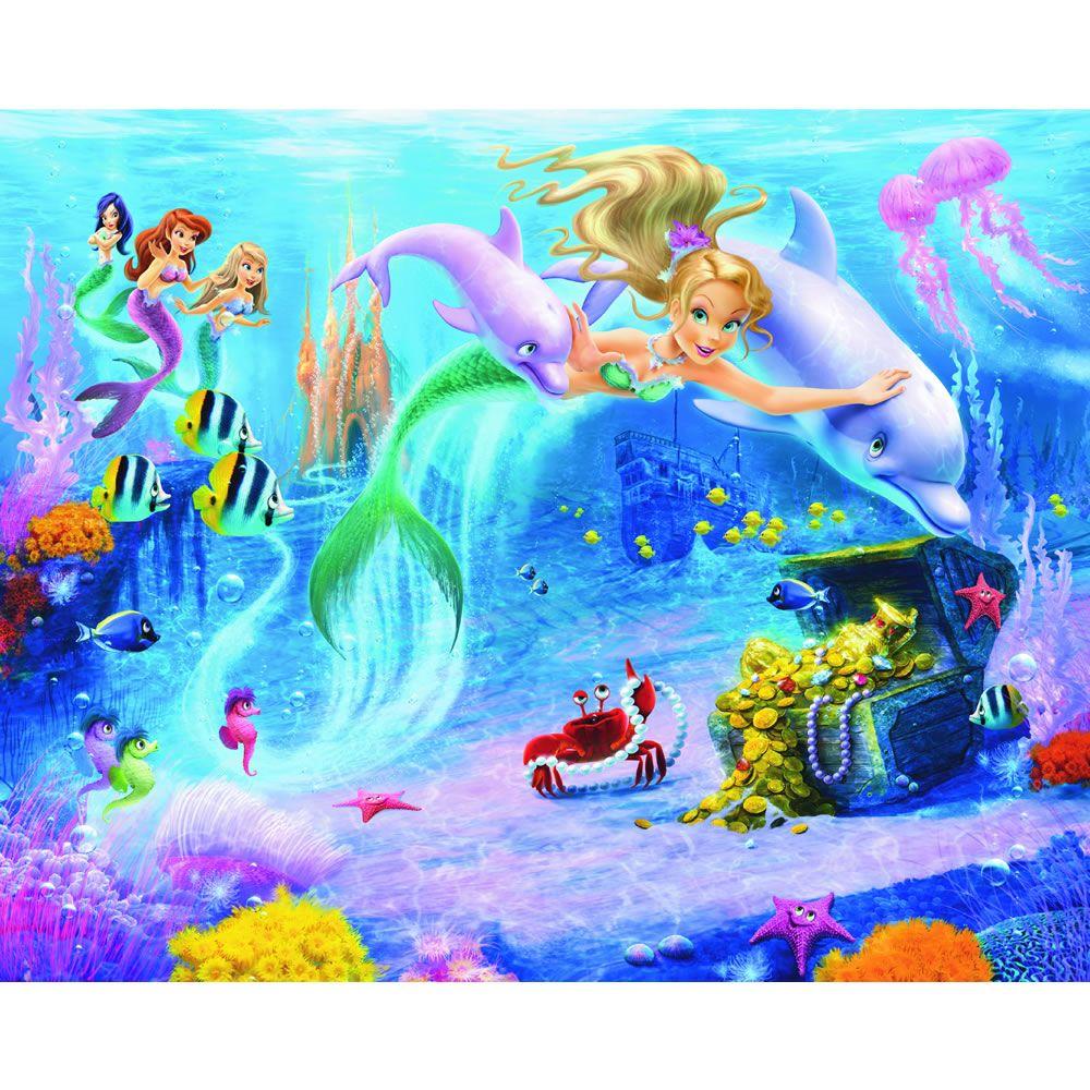 Best Walltastic Mermaids Wallpaper Mural 8Ft X 10Ft Mermaid 640 x 480