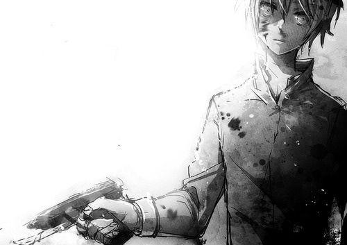 Boy with gun - anime art