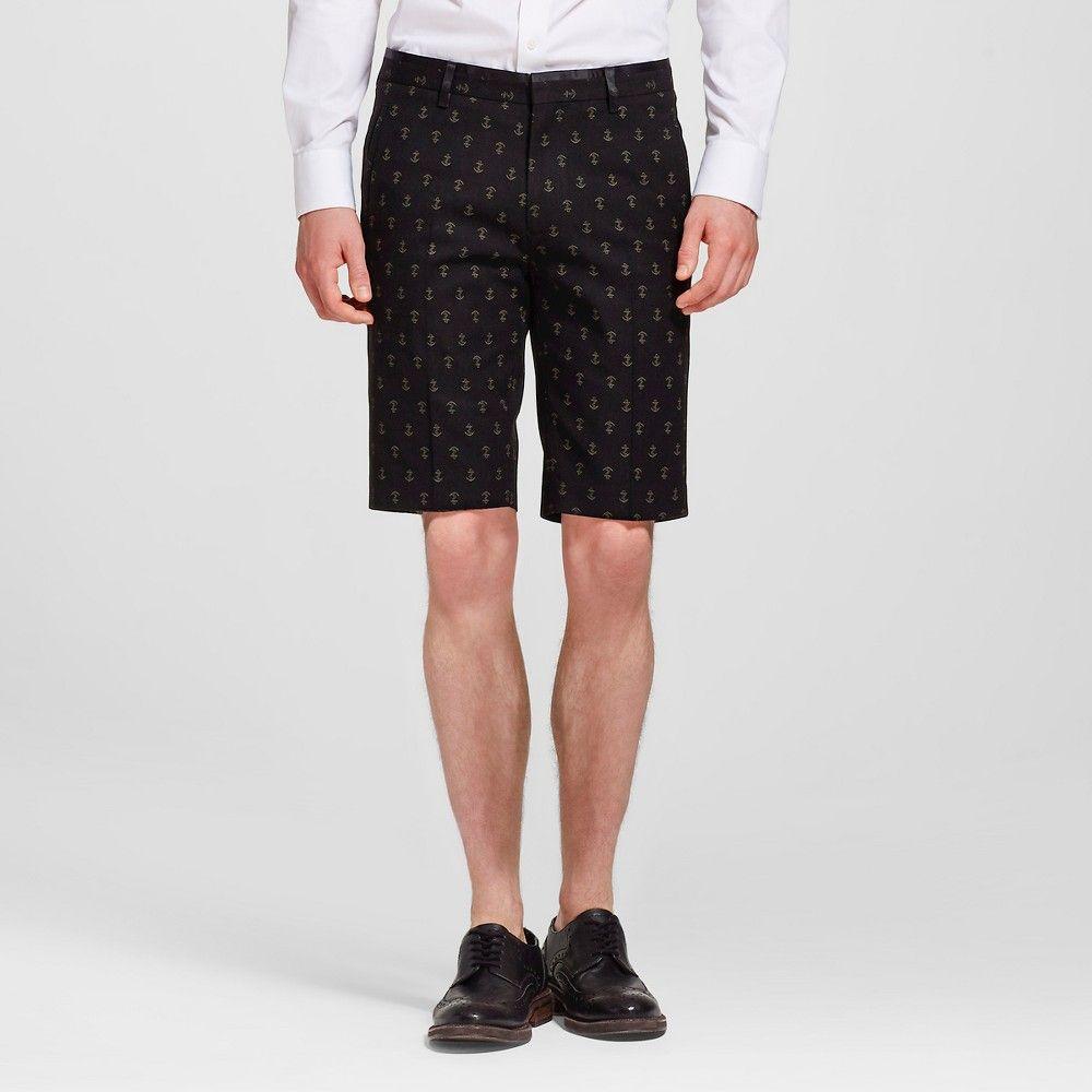 Men's Anchor Print Dress Shorts Blue L- WD-NY Black, Size: Large