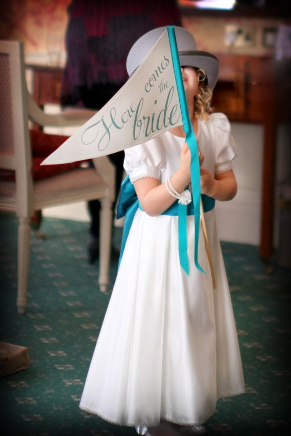 Made To Order Here Comes The Bride Sign - Large Pennant Flag Wedding Sign For Your Flower Girl on Etsy, $34.00