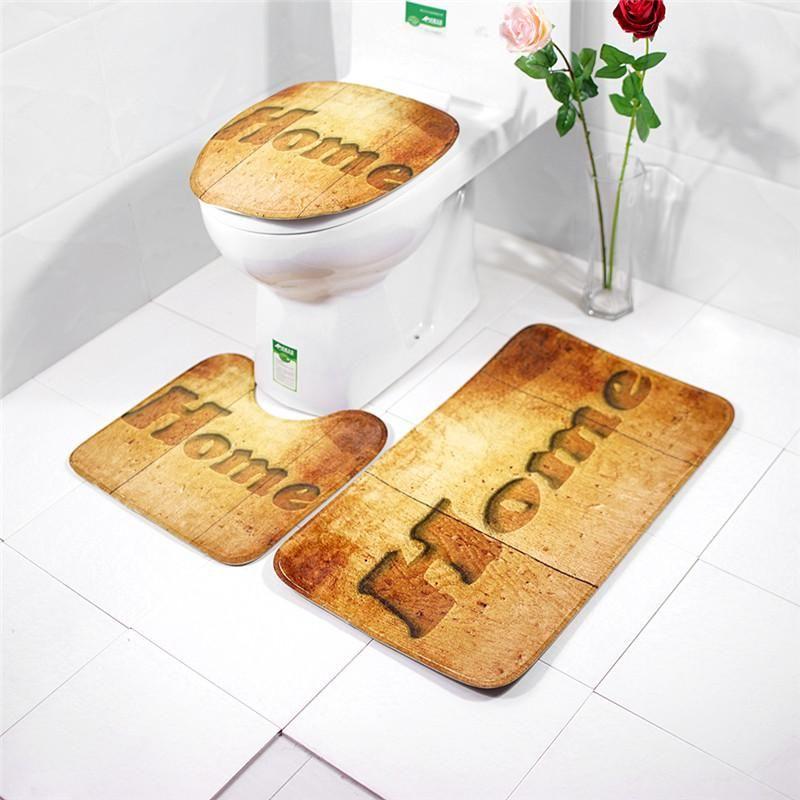 3pcs Set Bathroom Mat Set Embossing Flannel Floor Rugs Cushion