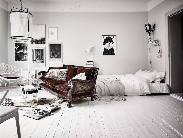 Scandinavian white studio apartment Wg zimmer