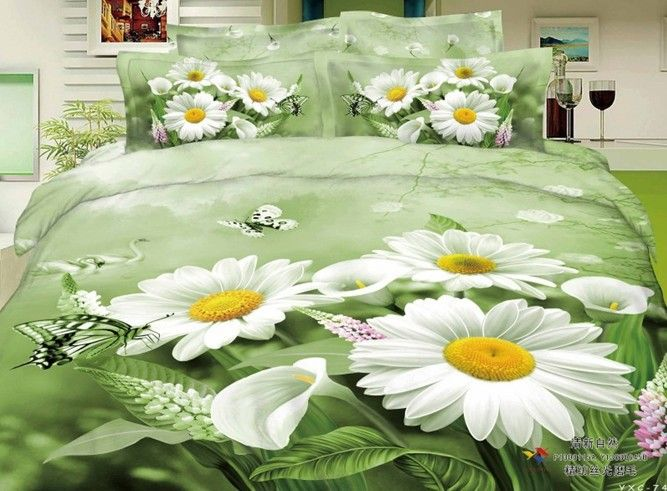 Elegant White Daisy Butterfly 3d Green Bedding Set Queen Size 4pcs