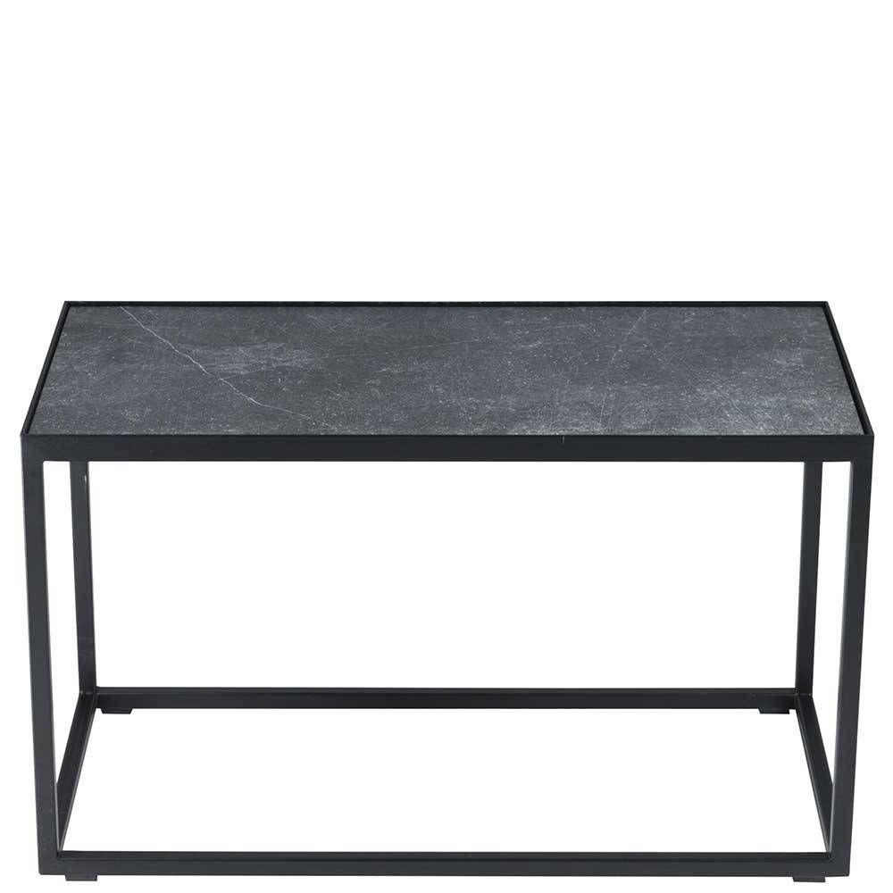60x40x60 Sofatisch Mit Steinplatte In Grau Stahlgestell In Schwarz Abeille Sofa Tisch Sofatisch Steinplatten