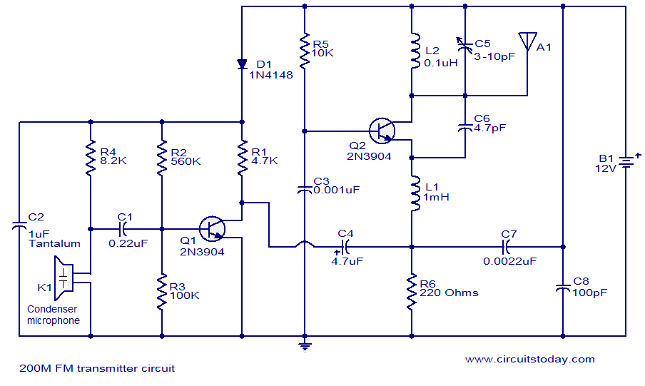 200M FM transmitter circuit | To make | Pinterest | Circuits ...
