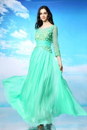 New Arrival Long Sleeve Floral Appliques Evening Dress Year 12