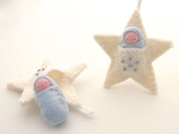 Photo of White star ornament pocket doll waldorf decor advent calendar baby's first Christmas SOW1 – Love baby