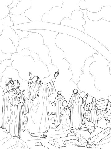 God's Rainbow Covenant with Noah coloring page from Noah's