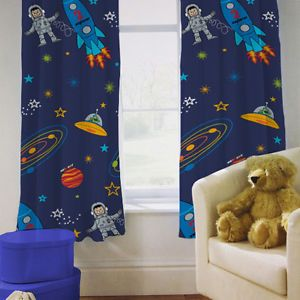 Children\'s Bedroom Curtains Space Boy Planets Rocket 66\