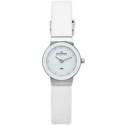 Skagen - Ladies White Leather Strap Watch - 358XSSLWW - Online Price: £80.00