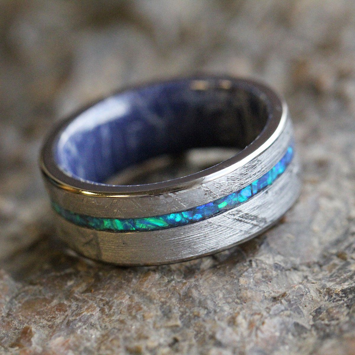 Crushed Opal Men's Wedding Band, Meteorite Ring With