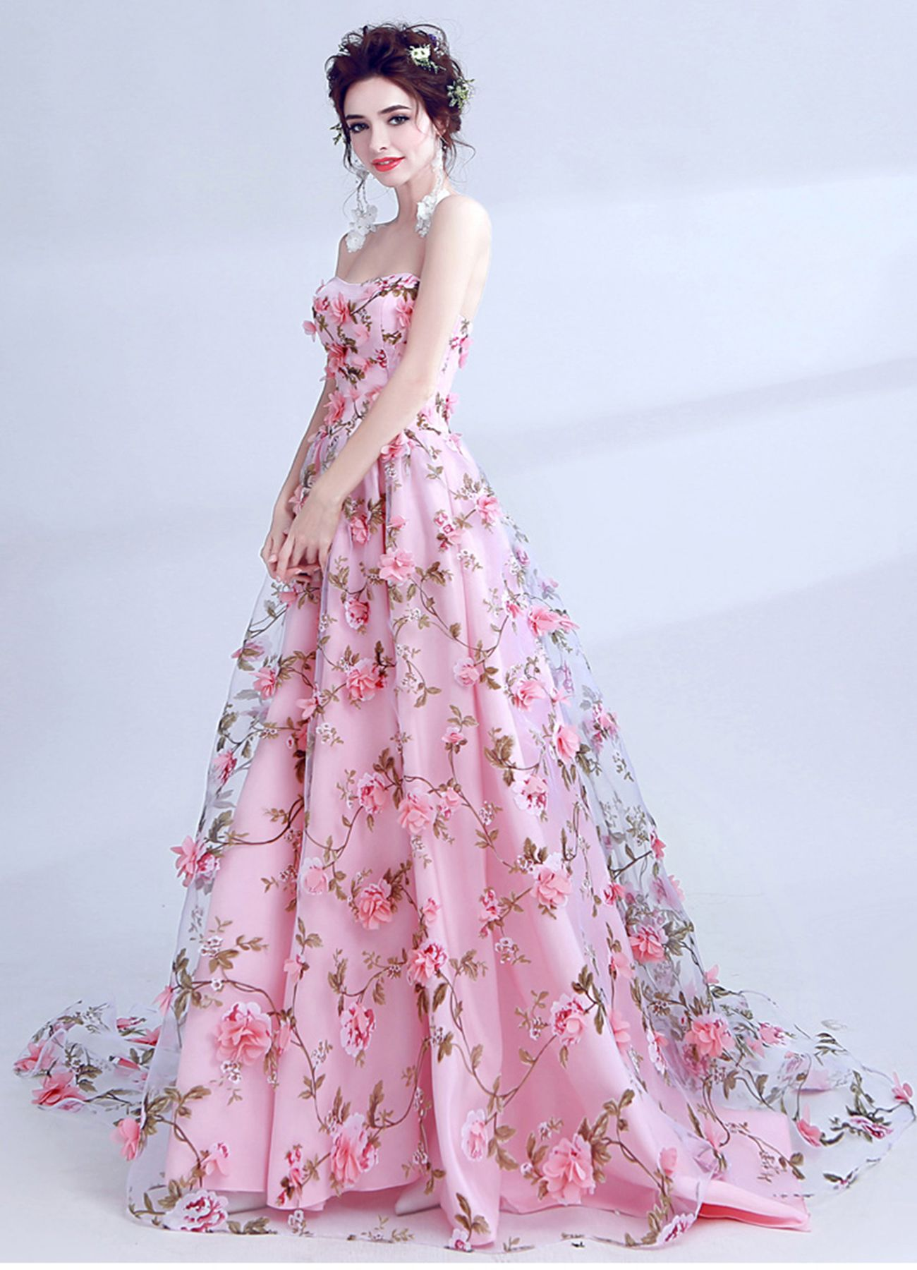 Pink flower floral strapless long tulle prom dress # ...