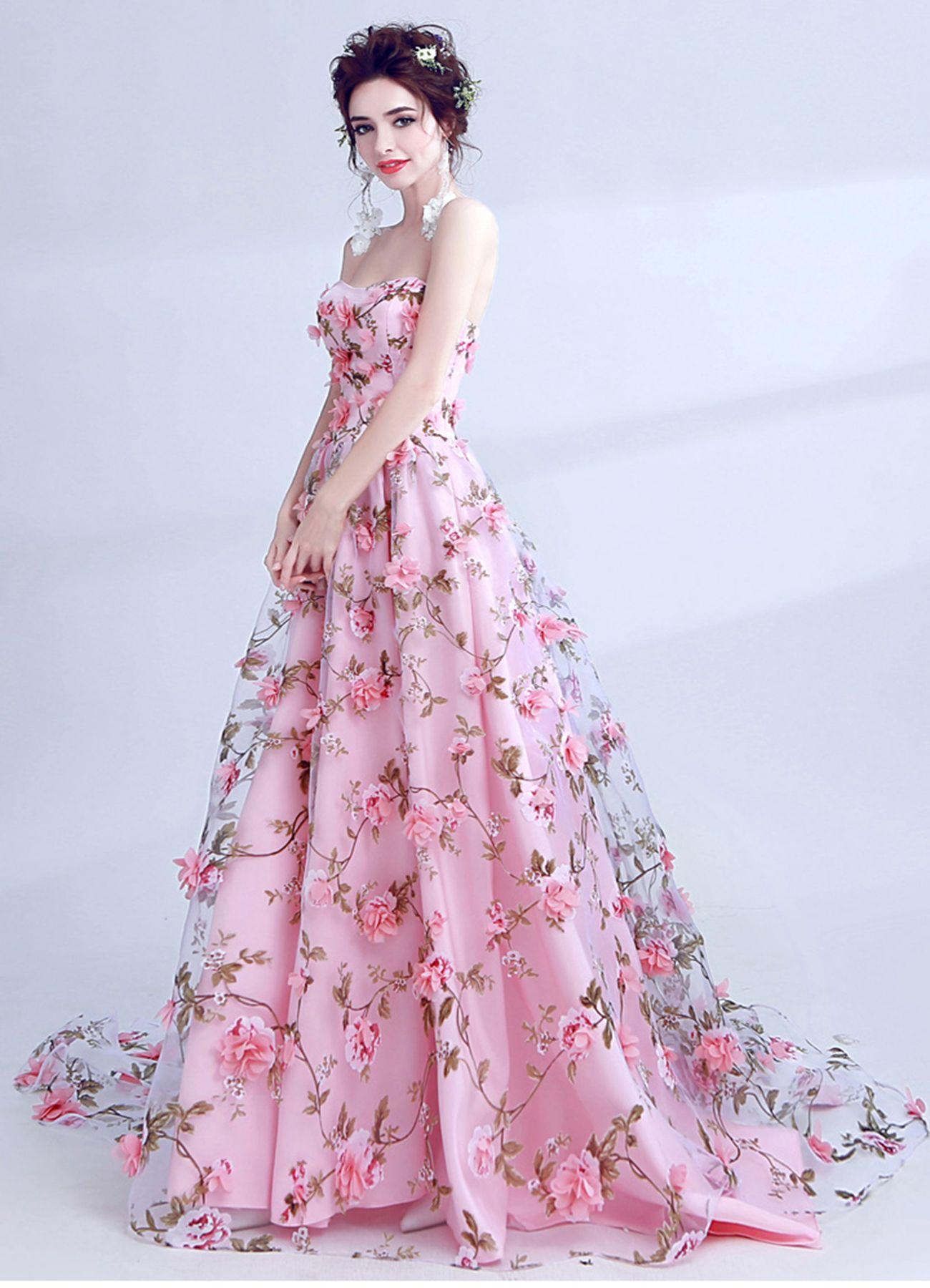 Long Floral Strapless Dress