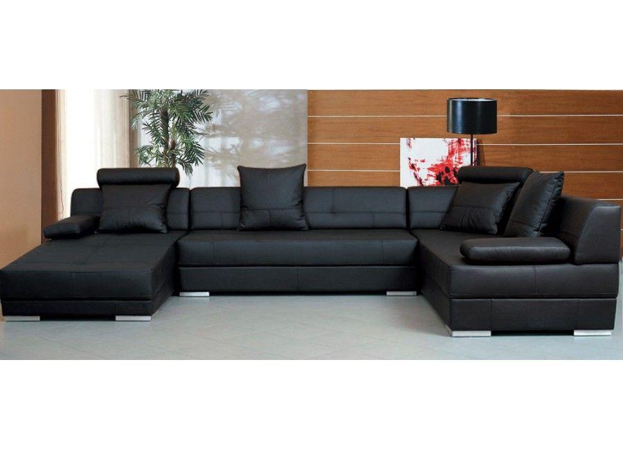 Modern Black Leather U Shape Sectional Sofa Living Room Furniture Black Leather Sofa Living Room Modern Sofa Living Room Black Living Room