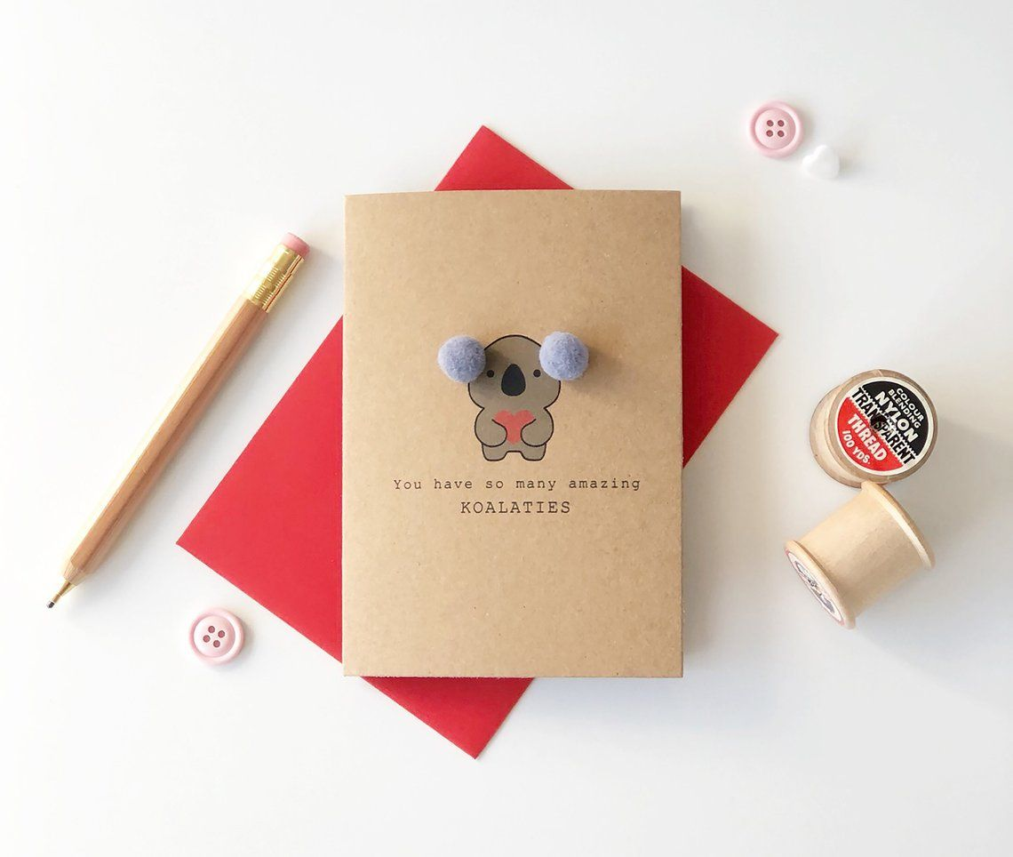 Koala Love Card With Pompom Detail Etsy Cards Messages For Friends Love Cards