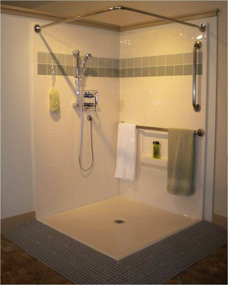 Gorgeous Corner Shower Unit Complete With Valve Package Grab Bars And Ramp Wheelchair