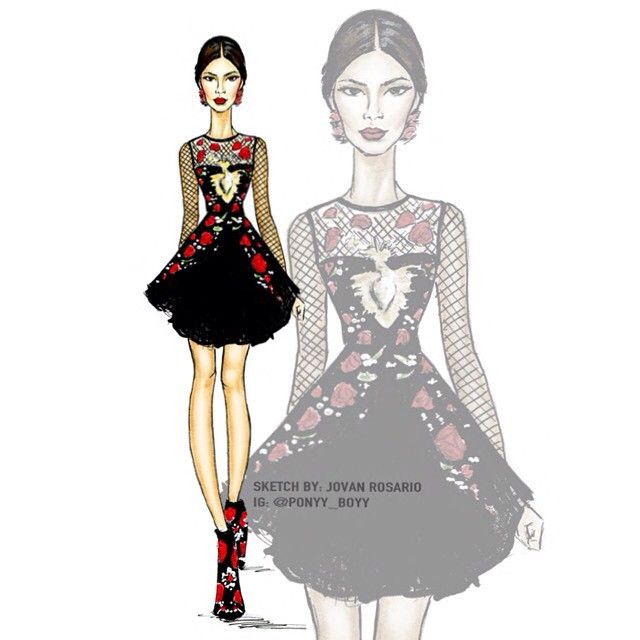 shareig kendalljenner for dolce amp gabbana ss15 sketch